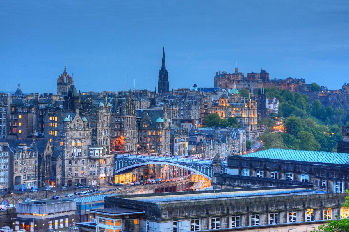 Edinburgh scotland at sunset