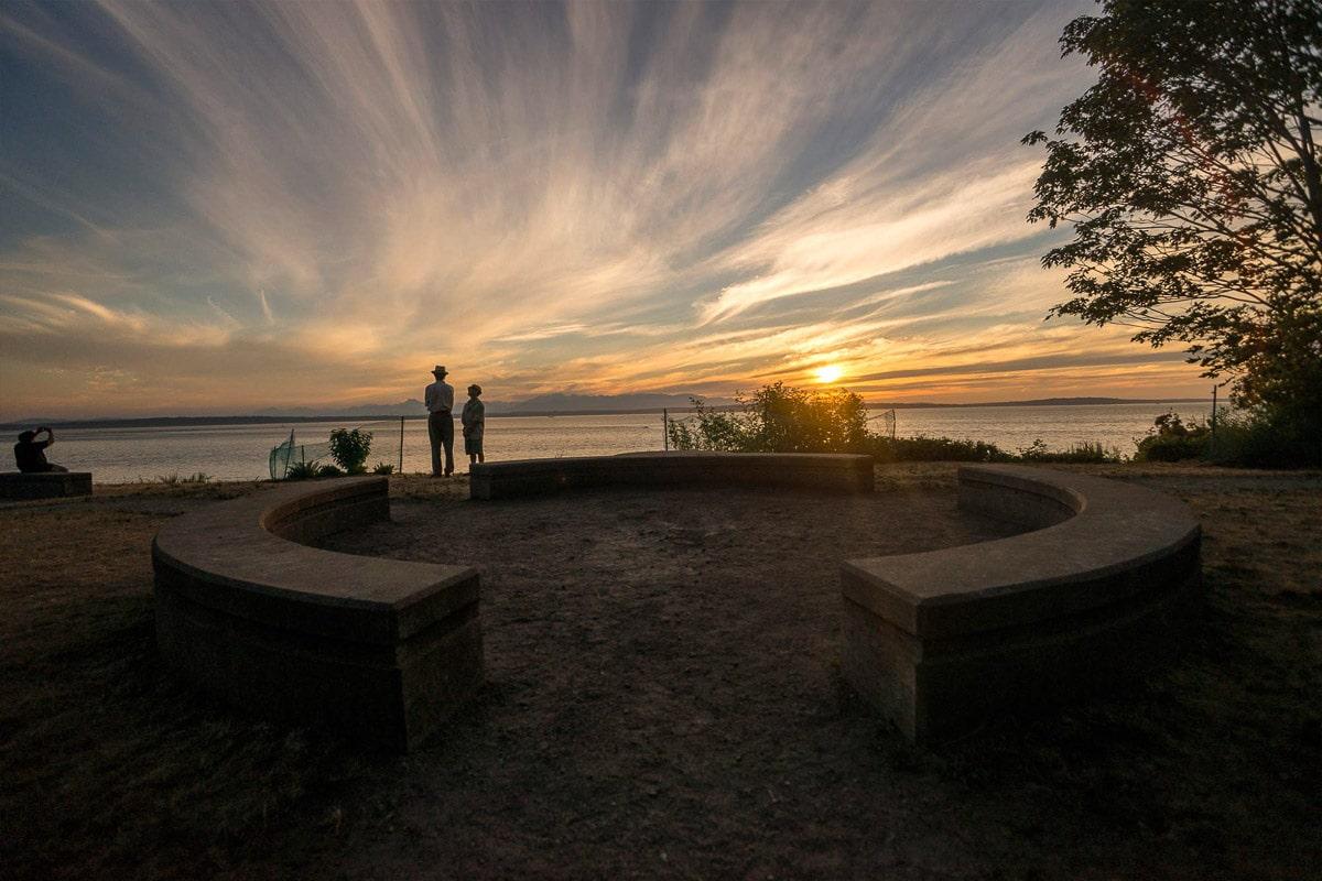 carkeek park seattle at sunset