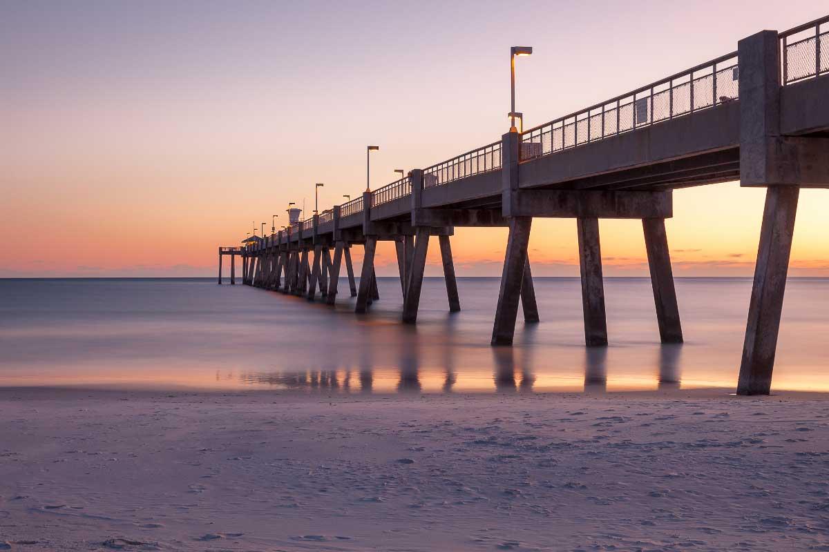 Okaloosa Pier Florida at sunset