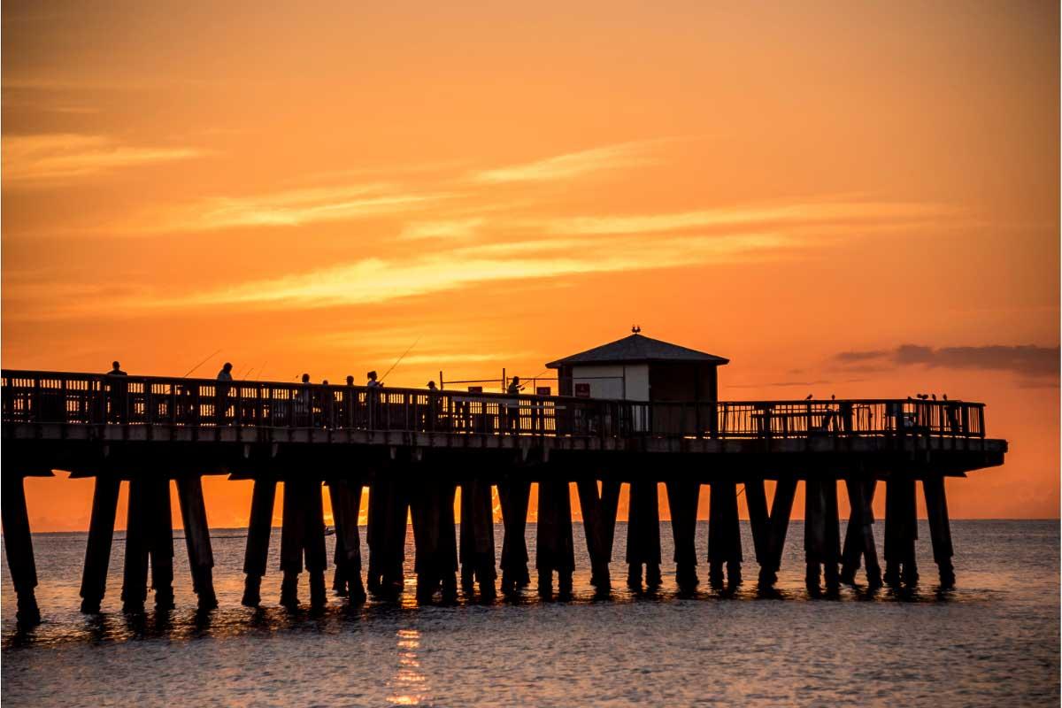 Pompano Beach florida pier at sunset