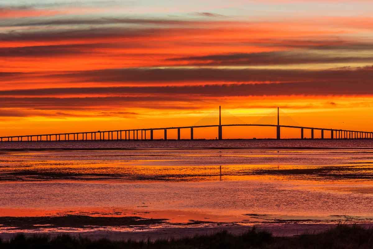 St Petersburg suspension bridge at sunset