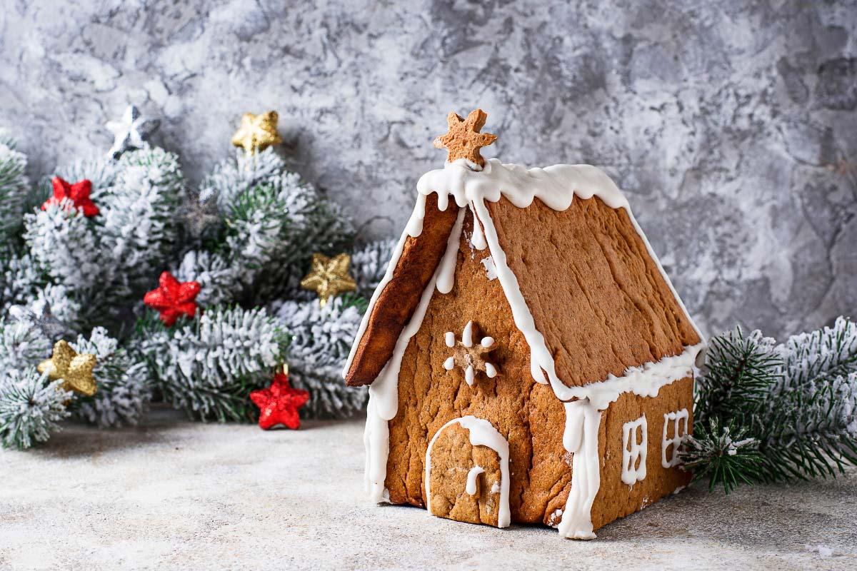German gingerbread house at christmas