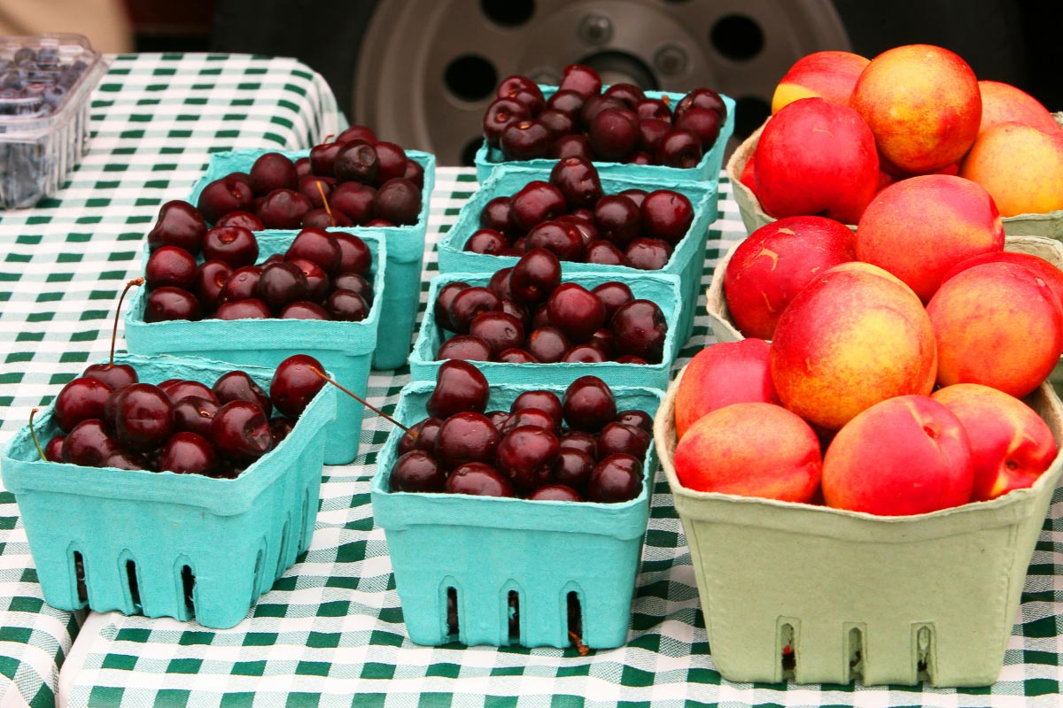 punnets of cherries and peaches