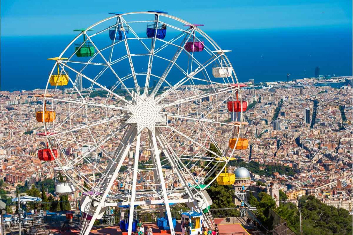 tibidabo amusement park ferris wheel barcelona