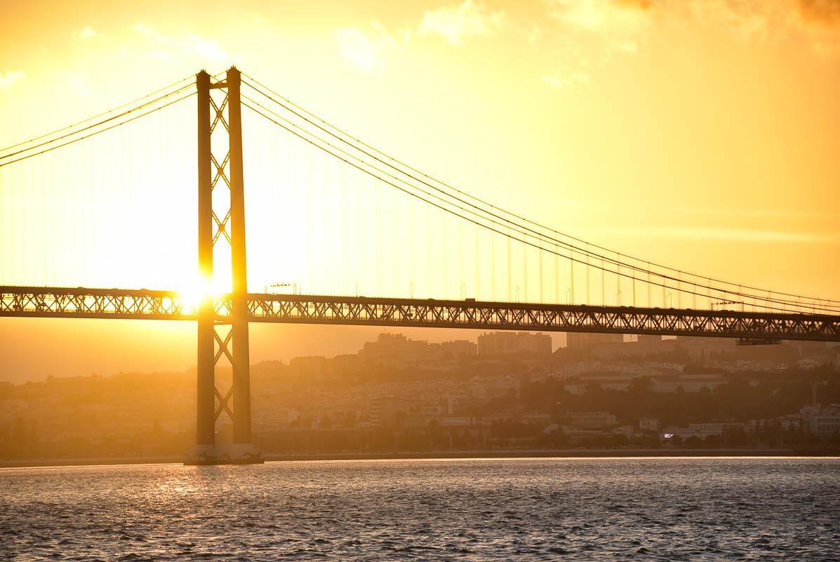 april 25 bridge at sunset