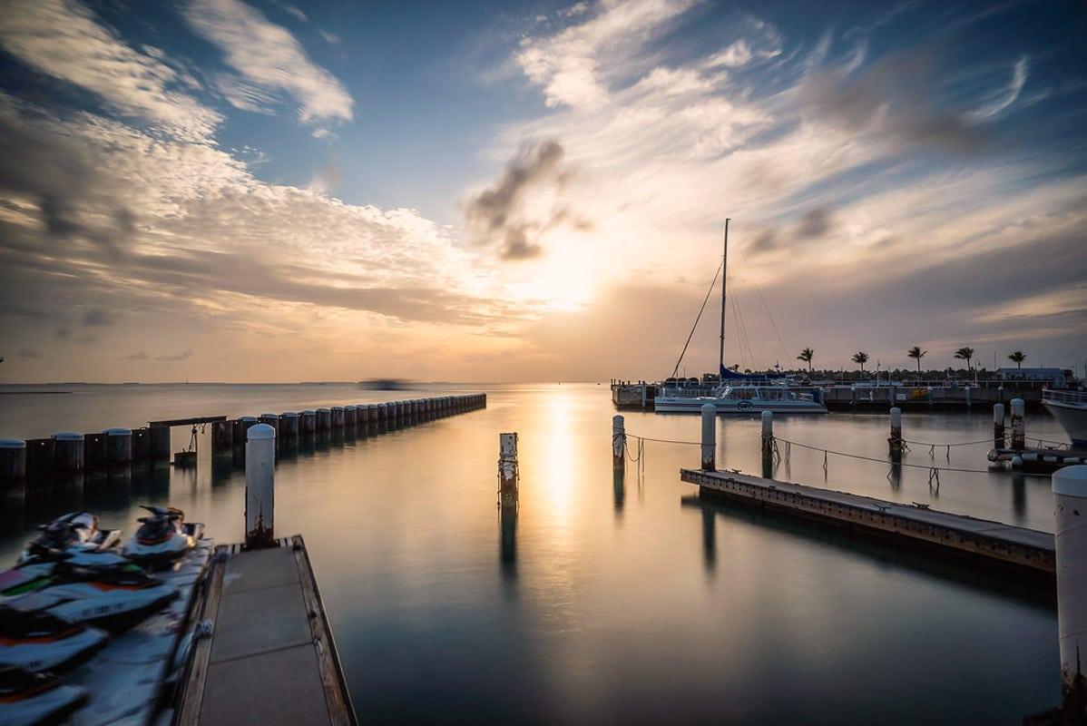 key west docks at sunset