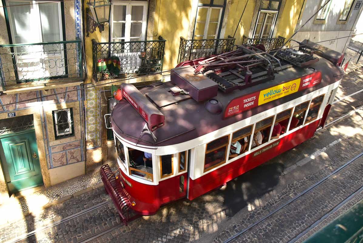 red tram in lisbon