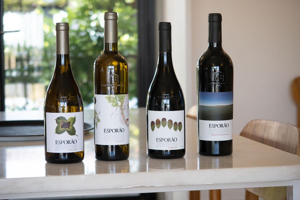 bottles on display in esporao winery alentejo