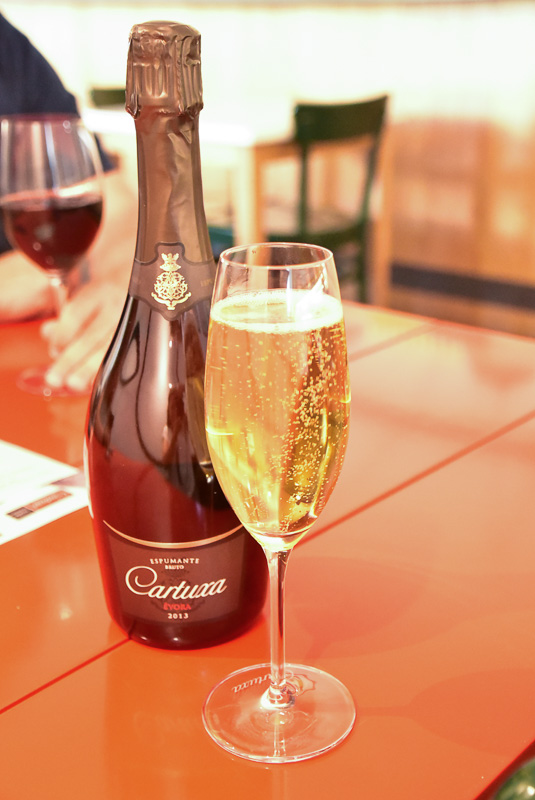 cartuxa sparkling wine and glass