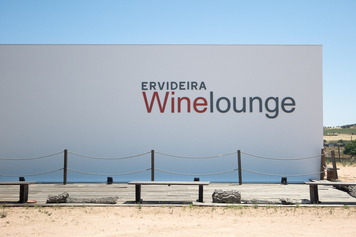 entrance to ervideira wine lounge alentejo