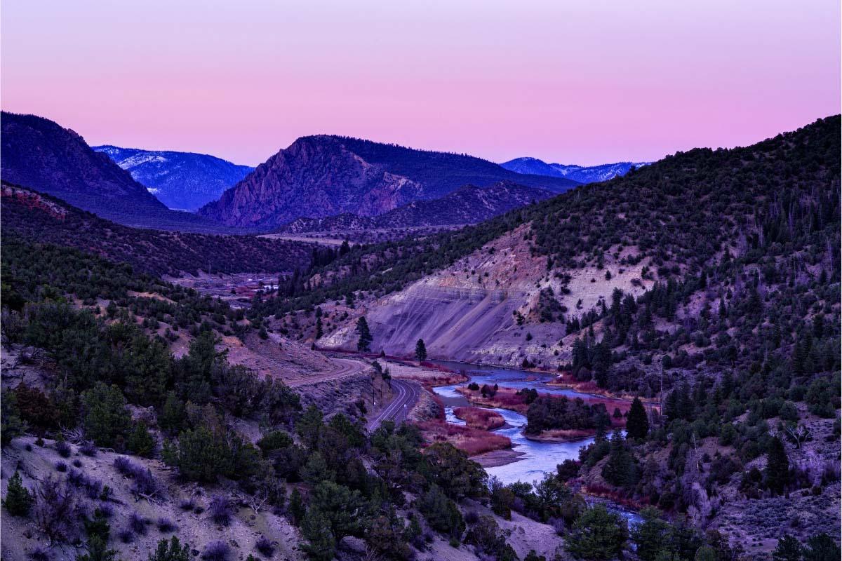 radium hot springs colorado at sunset