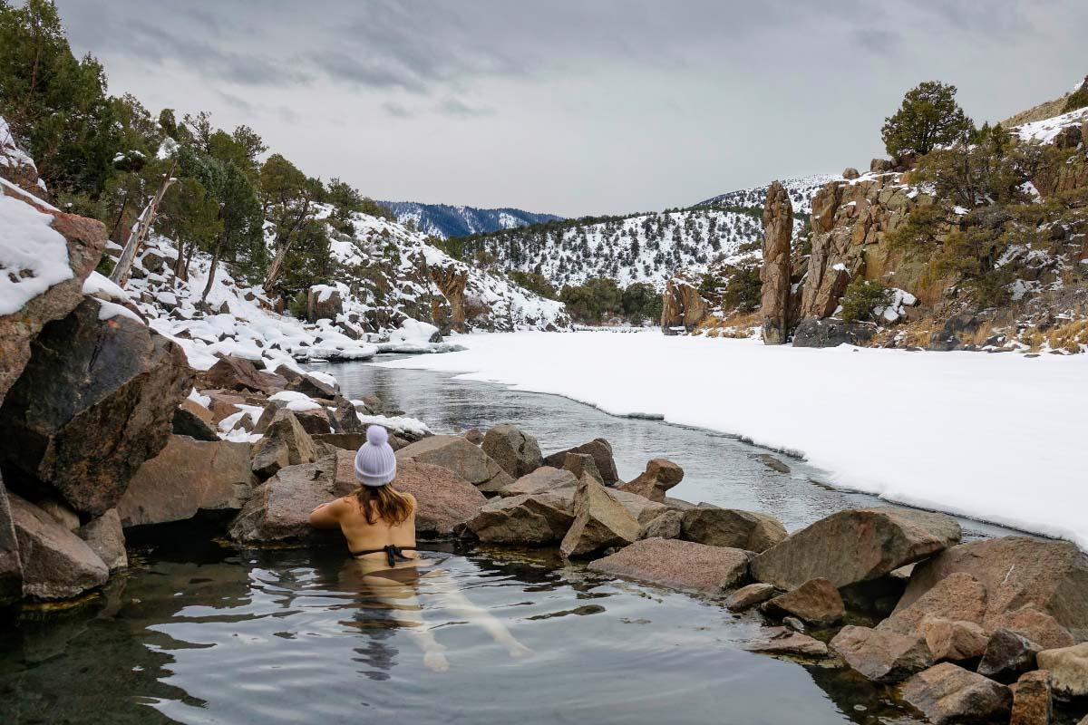 radium hot springs in winter