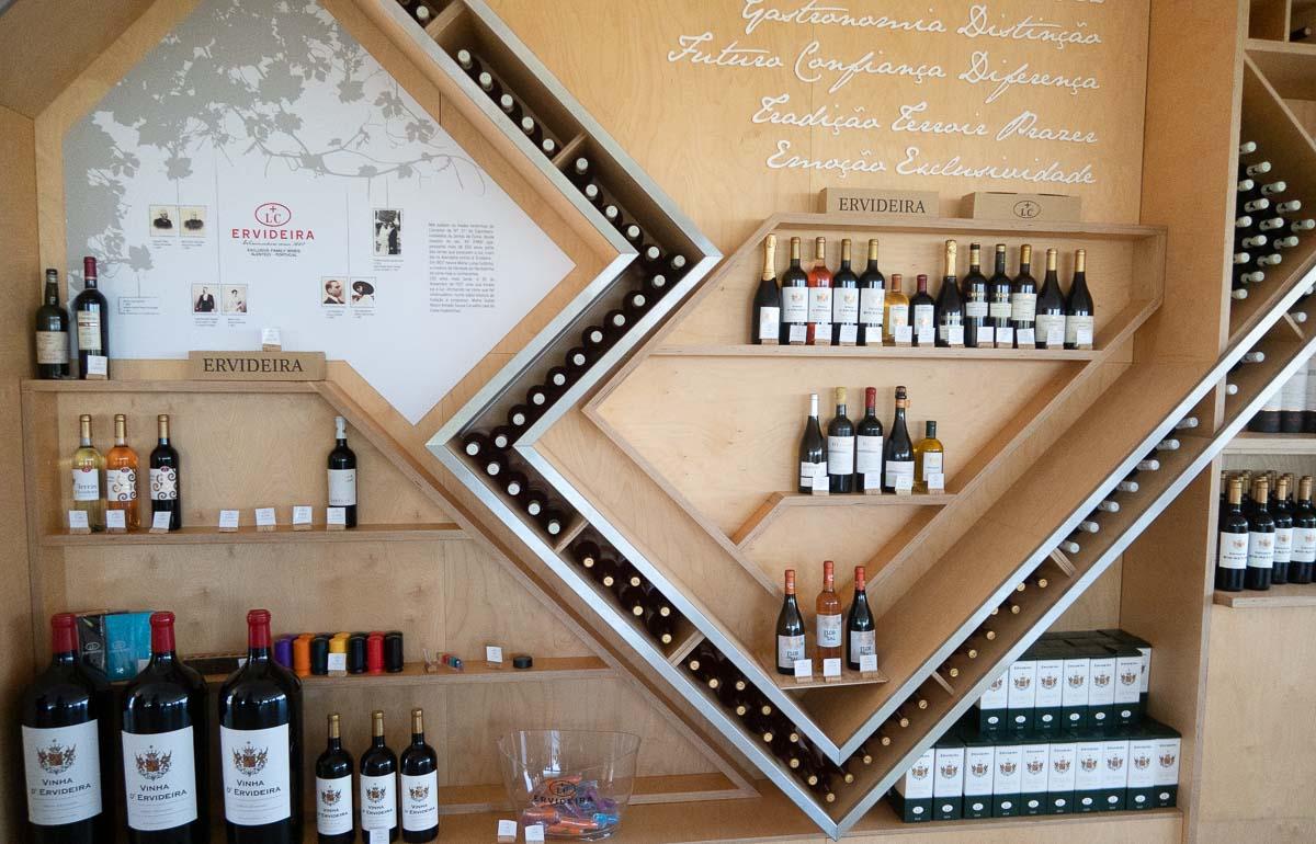 wine merchandising at tables at inside ervideira winery alentejo